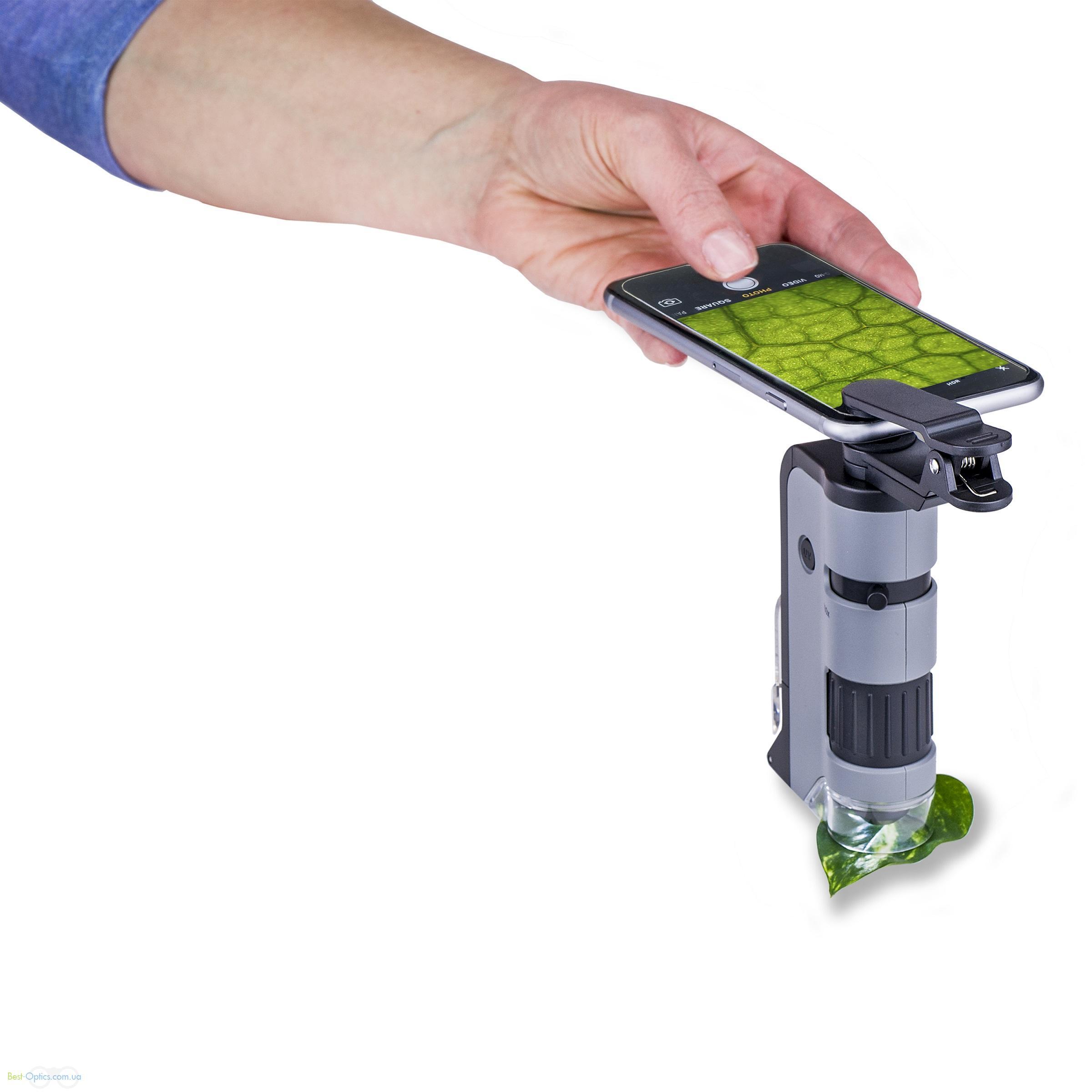 Микроскоп Carson MicroFlip™100-250x асферика с смартфон адаптером и ультрафиолетом (откидной стэнд и слайд в комплекте)
