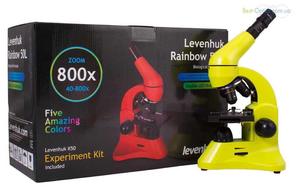 Микроскоп Levenhuk Rainbow 50L Lime/Лайм